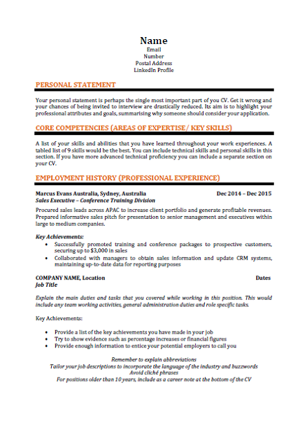 up to date cv template